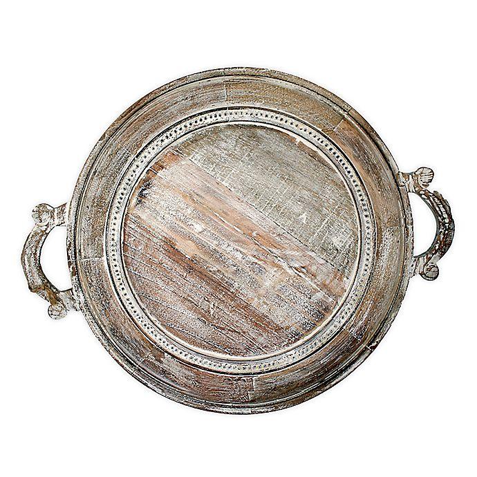 Alternate image 1 for Jodhpuri™ Inc. 18-Inch Round Braided Mango Wood Tray in Brown