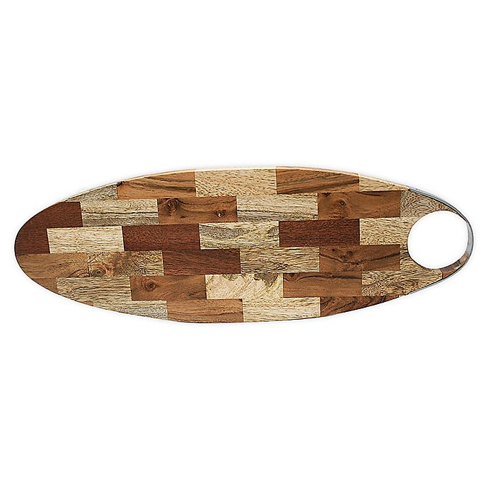 Alternate image 1 for Jodhpuri™ 17.5-Inch Oval Mixed Wood Chop Board with Handle in Brown