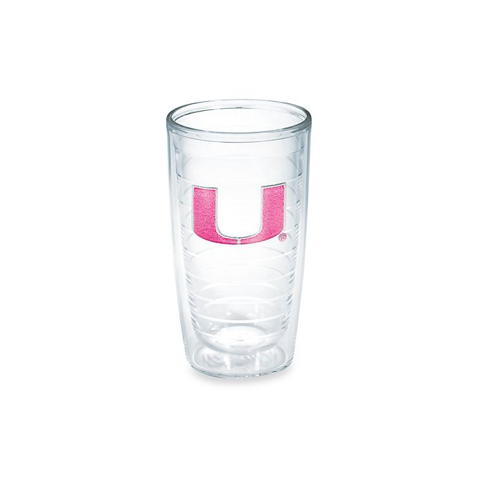 Alternate image 1 for Tervis® University of Miami Hurricanes 16-Ounce Emblem Tumbler in Neon Pink