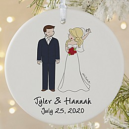 Wedding Couple philoSophie's® 3.75-Inch Matte Personalized Ornament