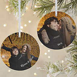 Cute Couple Photo 3.75-Inch Matte 2-Sided Personalized Ornament