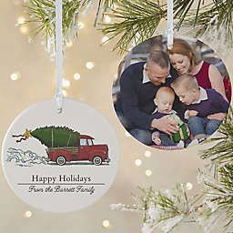 Classic Christmas Vintage Truck 3.75-Inch Matte 2-Sided Ornament