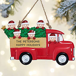 Red Truck Family Characters Personalized Ornament- 6 Name