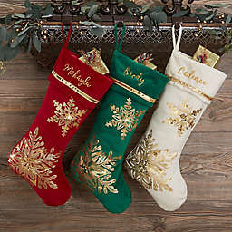 Glistening Snowflake Personalized Christmas Stocking in Green