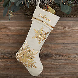 Glistening Snowflake Personalized Christmas Stocking in Ivory