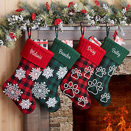 Buffalo Checkered Personalized Paw Christmas Stocking in Green