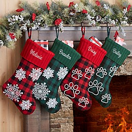 Buffalo Check Snowflake Personalized Red Christmas Stocking