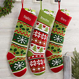 Holiday Icon Personalized Knit Christmas Stocking Green Cuff
