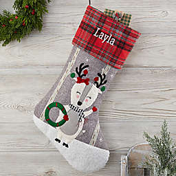 Wintry Cheer Deer Personalized Christmas Stocking