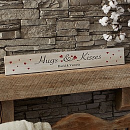 Hugs & Kisses Personalized Wooden Sign