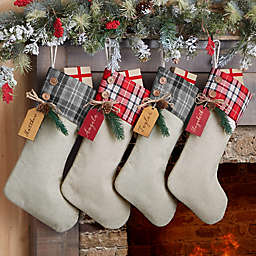 Red Plaid Evergreen Personalized Stocking Tag Collection