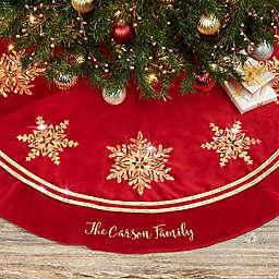 Glistening Snowflake Personalized Christmas Tree Skirt