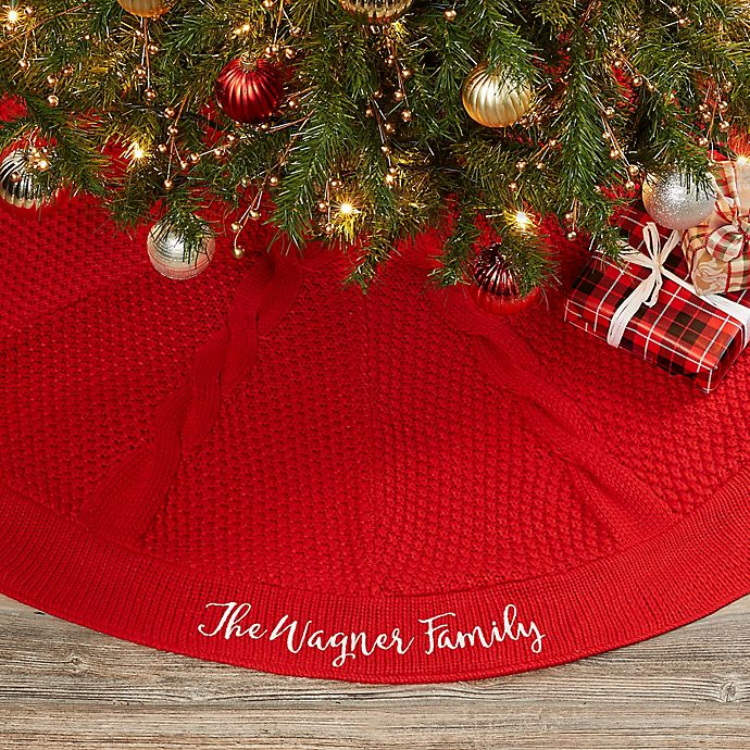 Alternate image 1 for Cozy Cable Knit Personalized Christmas Tree Skirt