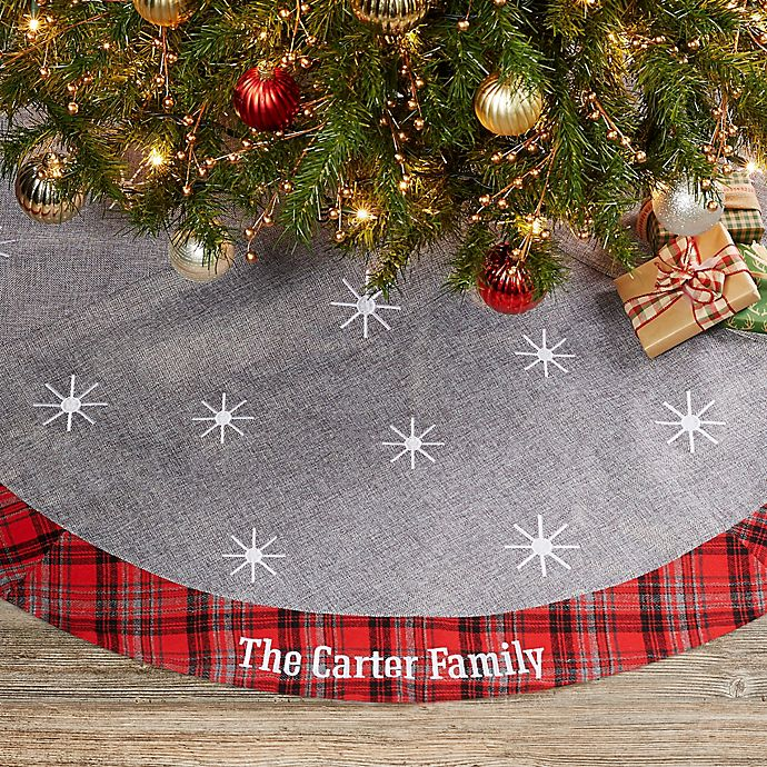 Wintry Cheer Personalized Christmas Tree Skirt | Bed Bath ...