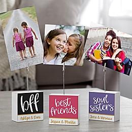 Best Friends Personalized Photo Clip Holder Block