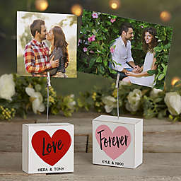 Sweethearts Personalized Photo Clip Holder Block