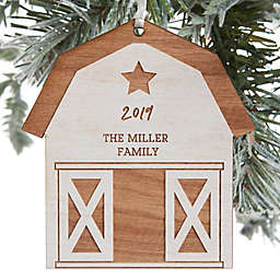 Christmas Barn Personalized Wood Ornament in Whitewash Stain