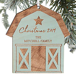 Christmas Barn Personalized Wood Ornament in Blue Stain