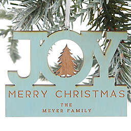 Family Joy Personalized Wood Ornament in Blue Stain