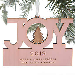 Family Joy Personalized Wood Ornament in Pink Stain