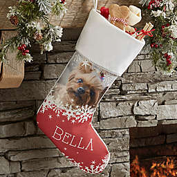 Snowflake Pet Personalized Christmas Photo Stocking in Ivory