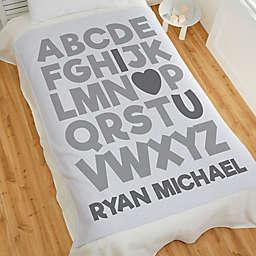 Alphabet Message Personalized 50-Inch x 60-Inch Sweatshirt Baby Blanket