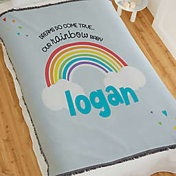 Rainbow Baby Personalized 56-Inch x 60-Inch Woven Blanket