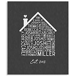 Family Home Personalized 50-Inch x 60-Inch Tie Blanket