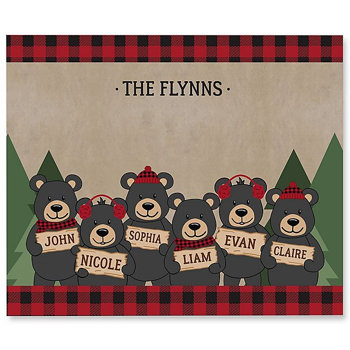 Alternate image 1 for Holiday Bear Family Personalized 50-Inch x 60-Inch Tie Blanket