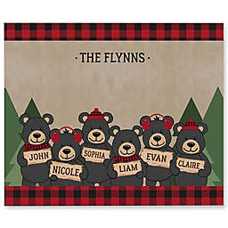Holiday Bear Family Personalized 50-Inch x 60-Inch Tie Blanket