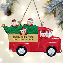 Red Truck Family Characters Personalized Ornament- 4 Name