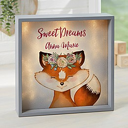 Woodland Floral Fox Personalized LED Shadow Box Collection