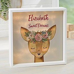 Woodland Floral Deer Personalized LED Shadow Box Collection