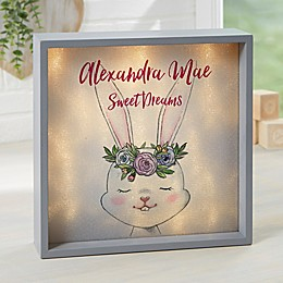 Woodland Floral Bunny Personalized LED Shadow Box Collection