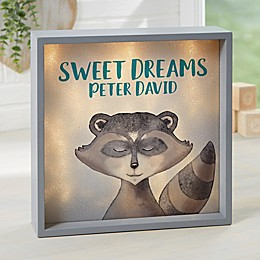 Woodland Raccoon Personalized LED Light Shadow Box Collection