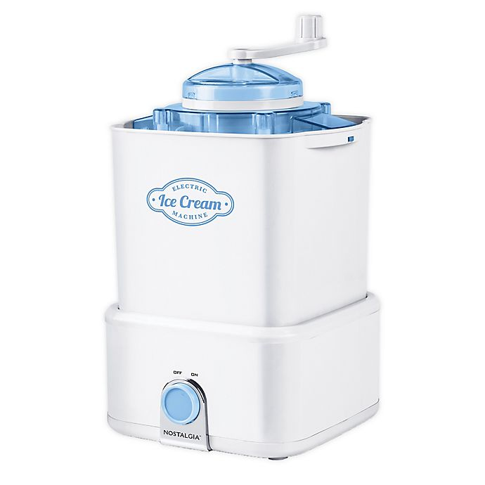 Alternate image 1 for Nostalgia Electrics 2 qt. Ice Cream Maker with Candy Crusher in White