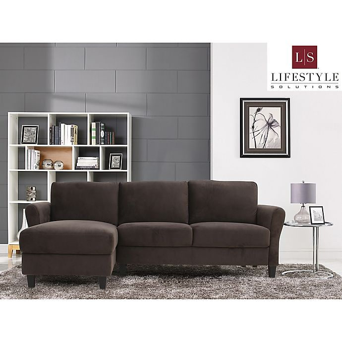 Alternate image 1 for Lifestyle Solutions® Venzon Sectional Sofa with Rolled Arms in Coffee