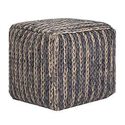 Simpli Home® Mullins Woven Jute Cube Pouf Ottoman in Blue