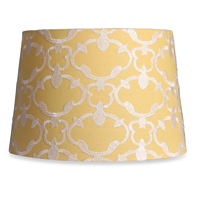Mix Match Medium 13 Inch Embroidered Linen Drum Lamp Shade In Yellow
