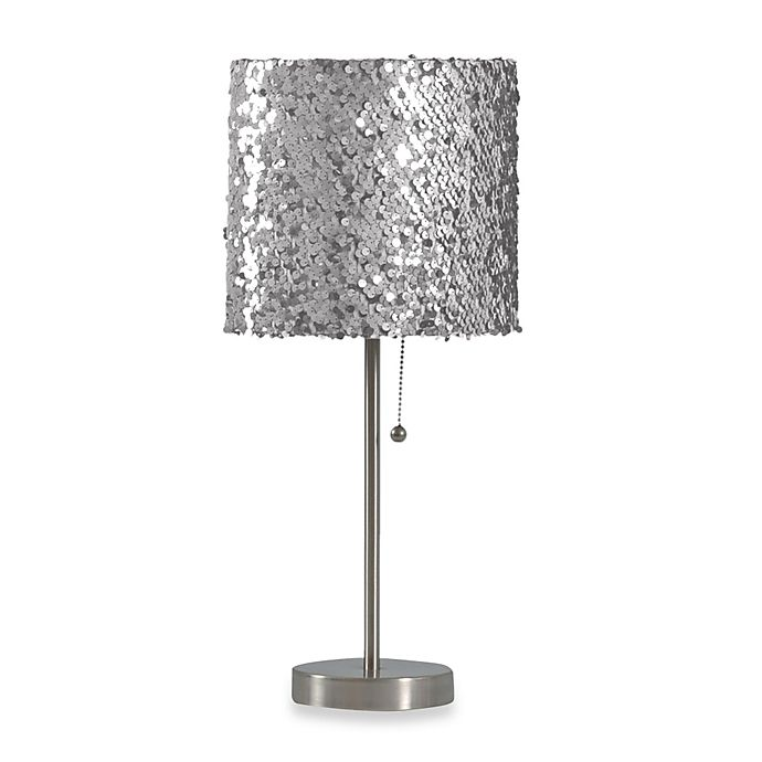 Silver Sequin Table Lamp With Cfl Bulb Bed Bath Amp Beyond