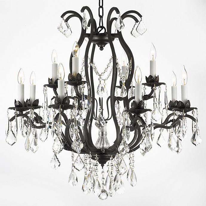 Alternate image 1 for Gallery Wrought Iron and Crystal, 12-Light Chandelier