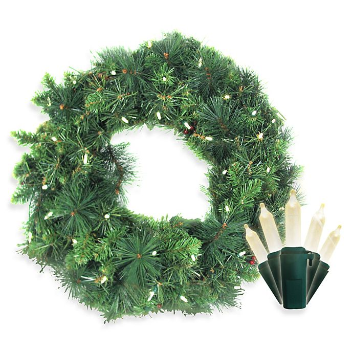 Alternate image 1 for Brite Star Battery Operated 35-Count White LED Anchorage Fir Pine Wreath