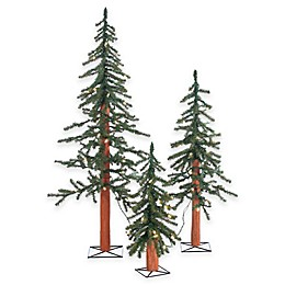 Pre-Lit 2, 3, and 4-Foot Trees (Set of 3)