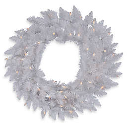 Vickerman 36-Inch Sparkle White Spruce Pre-Lit Wreath with Clear Lights
