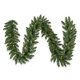 Vickerman Camdon Fir 9-Foot x 20-Foot Garland in Green with Warm White LED Lights