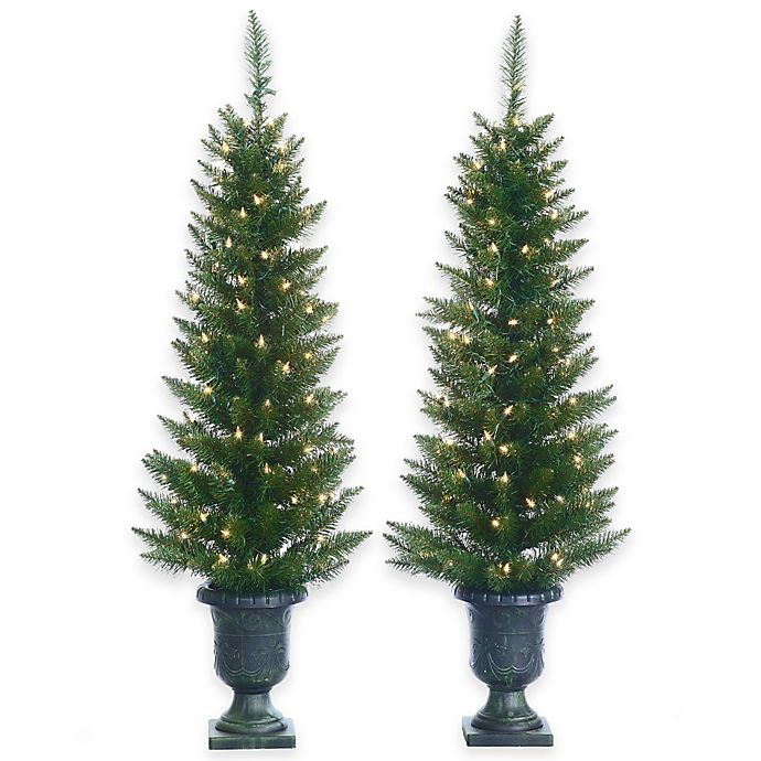 4 Foot Artificial Cedar Pine Potted Pre Lit Trees Set Of