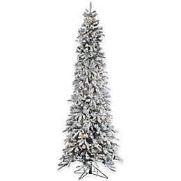9-Foot Narrow Flocked Barrington Artificial Pencil Pine Tree with 650 Clear Lights