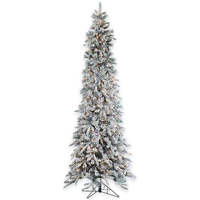 Local Christmas Trees: 9-Foot Narrow Flocked Barrington Artificial Pencil Pine