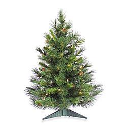 Vickerman 3-Foot Cheyenne Pine Christmas Tree with Clear Lights and Pine Cones