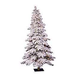 Vickerman Flocked Spruce Pre-Lit Christmas Tree with Clear Lights